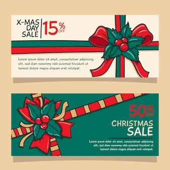 Ручной обращается рождественские продажи баннеров шаблон