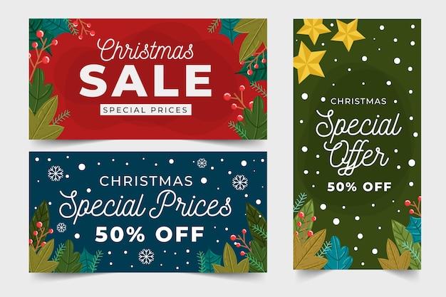 Рисованной рождественские продажи баннеров