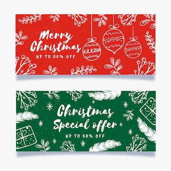 Hand drawn christmas sale banners