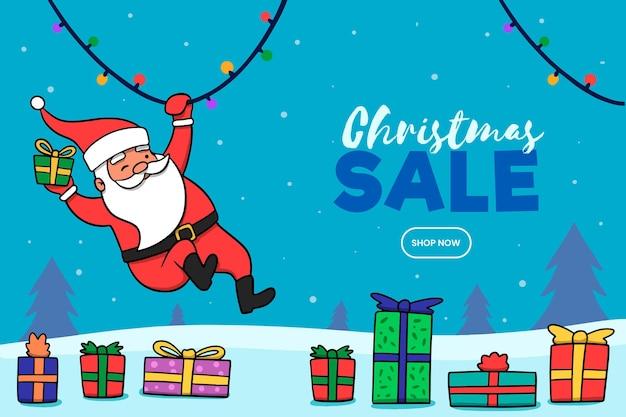 Нарисованная рукой концепция рождественской распродажи