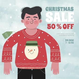 손으로 그린 크리스마스 판매 개념