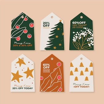Hand drawn christmas sale tag collection