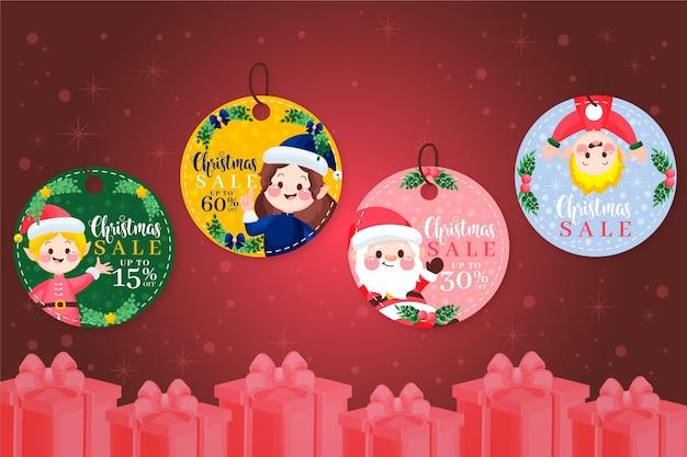 手描きのクリスマスセールタグコレクション