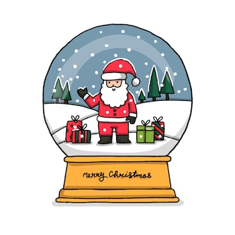 Hand drawn christmas santa claus globe