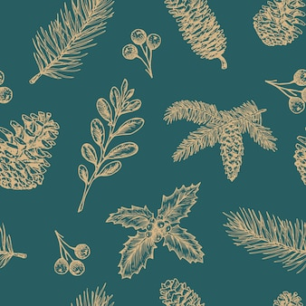 Hand drawn christmas  seamless background pattern.