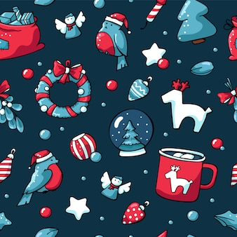 Hand drawn christmas seamless pattern in scandinavian style