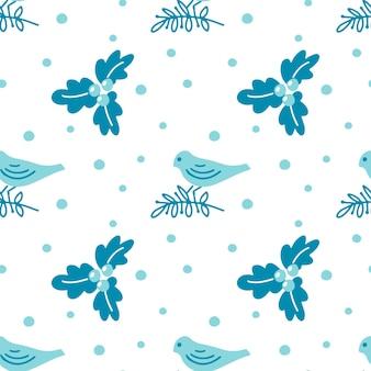 白のクリスマスの枝の葉と鳥と手描きのクリスマスのシームレスなパターン