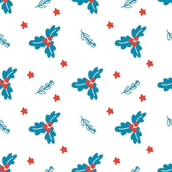 白い背景の上のクリスマスの枝の葉と星と手描きのクリスマスのシームレスなパターン