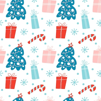 Hand drawn christmas seamless pattern with christmas tree gift boxesstar candy cane snowflake