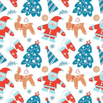 Ручной обращается рождество бесшовные модели с елкой шляпа оленей санта-клауса звезд ветвей