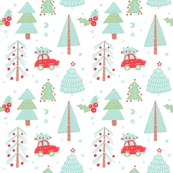Hand drawn christmas seamless pattern with christmas trees. cute red retro car in winter fir forest.