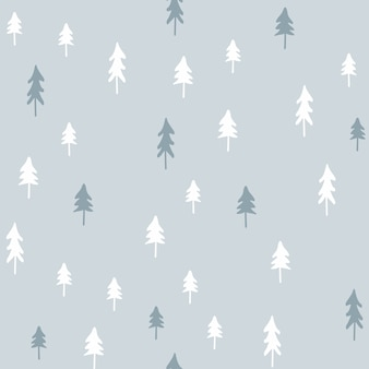 Hand drawn christmas seamless pattern with christmas trees.