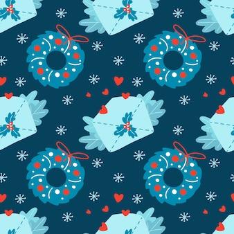 Ручной обращается рождество бесшовные модели с рождественским венком конверт сердце ветки снежинка