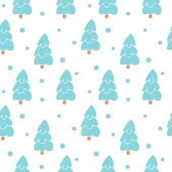 白い背景の上のモミの森の風景スノーフレークと手描きのクリスマスのシームレスなパターン