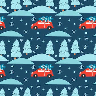 Ручной обращается рождество бесшовные модели с красной машиной ели лесной пейзаж снежинка на синем