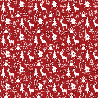 手描きのクリスマスシームレスパターン