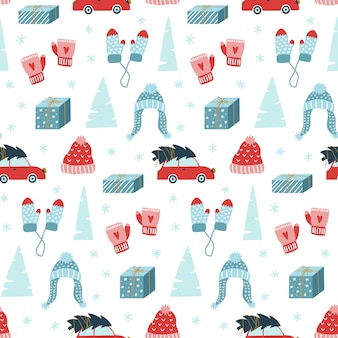 Hand drawn christmas seamless pattern.