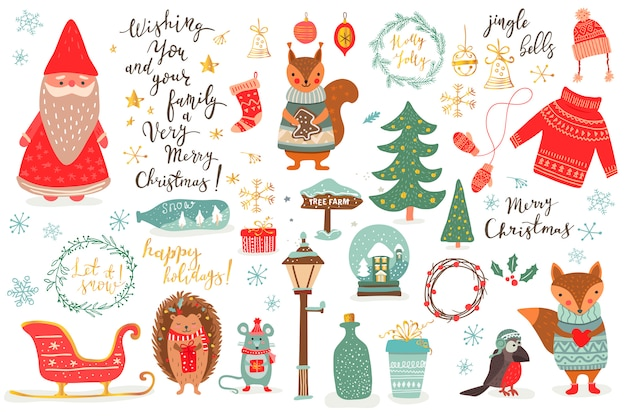 Hand drawn christmas set in cartoon style. funny card with cute animals and other elements: fox, mouse, squirrel, hetchog bird, santa, christmas tree, lettering. illustration