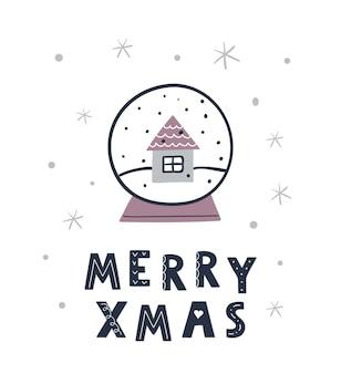 Ручной обращается рождественский снежный шар с надписью «с рождеством». праздничный шаблон поздравительной открытки xmas.