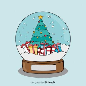 手描きのクリスマス雪ボールのコンセプト