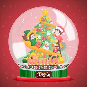手描きのクリスマス雪玉地球儀イラスト