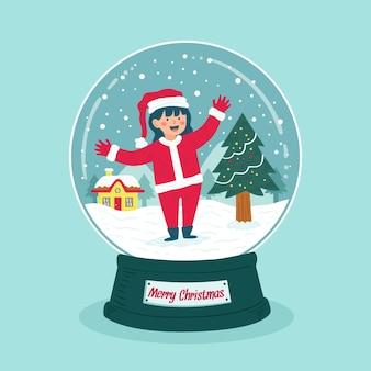女の子と手描きのクリスマス雪玉地球