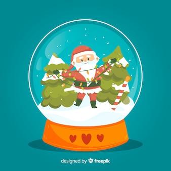 Hand drawn christmas snowball globe with santa claus