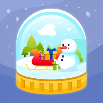 Hand drawn christmas snowball globe with snowman