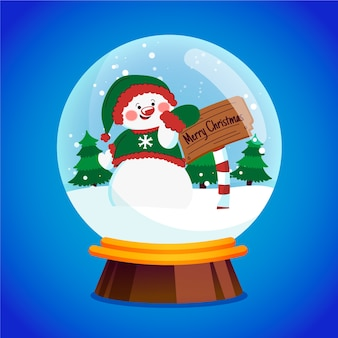 Hand drawn christmas snowball globe