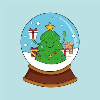 手描きのクリスマス雪玉地球