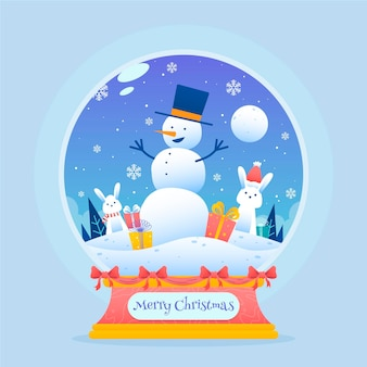 Hand drawn christmas snowball globe
