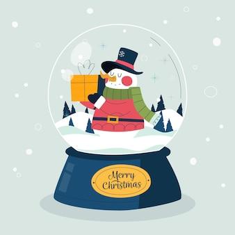손으로 그린 크리스마스 눈덩이 글로브
