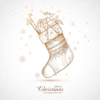 Hand drawn christmas sock with candy and gift background