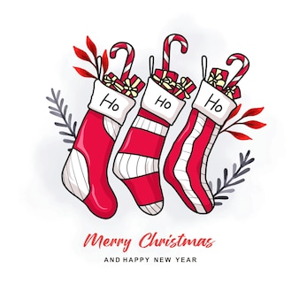 Hand drawn christmas socks for christmas card
