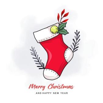 다채로운 b와 함께 크리스마스 카드에 대 한 손으로 그린 크리스마스 양말