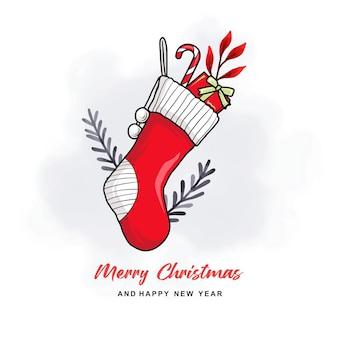 화려한 크리스마스 카드를 위한 손으로 그린 크리스마스 양말