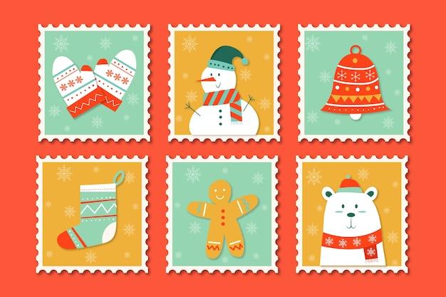 Hand drawn christmas stamp collection