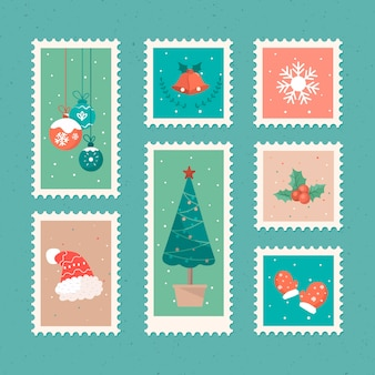 Hand drawn christmas stamp collection