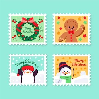 손으로 그린 크리스마스 스탬프 컬렉션