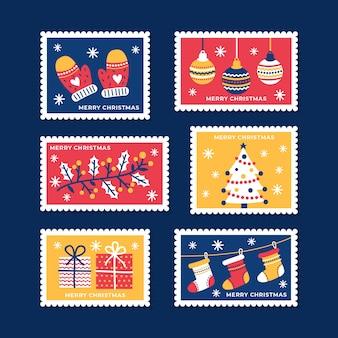 Ручной обращается коллекция рождественских марок