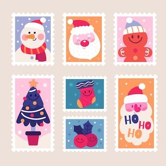 Коллекция рисованной рождественских марок