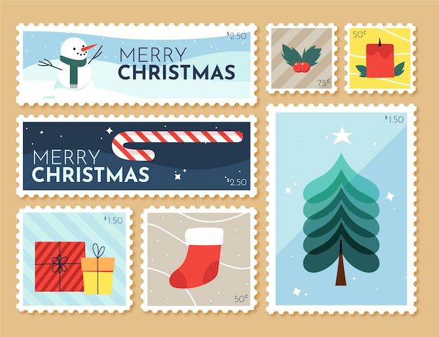 Collezione di francobolli di natale disegnati a mano