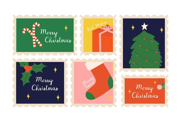 Hand drawn christmas stamps collection