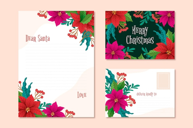 Hand drawn christmas stationery template with flowers