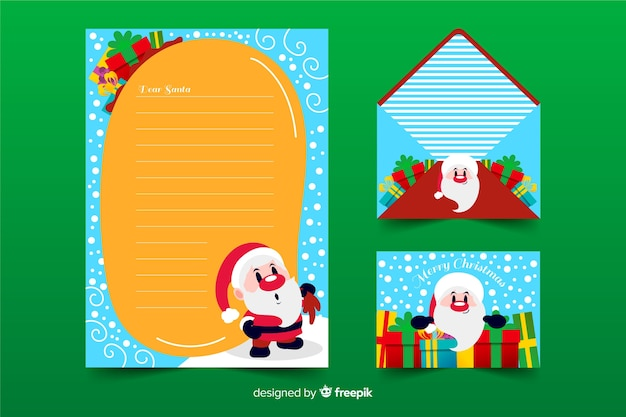 Hand drawn christmas stationery template with santa claus