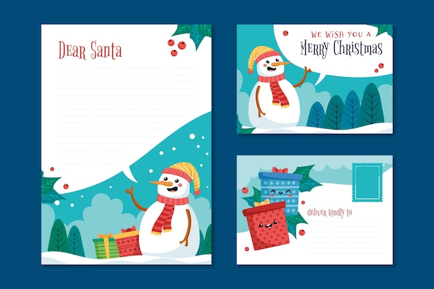 Ручной обращается рождественский шаблон канцелярских товаров со снеговиком