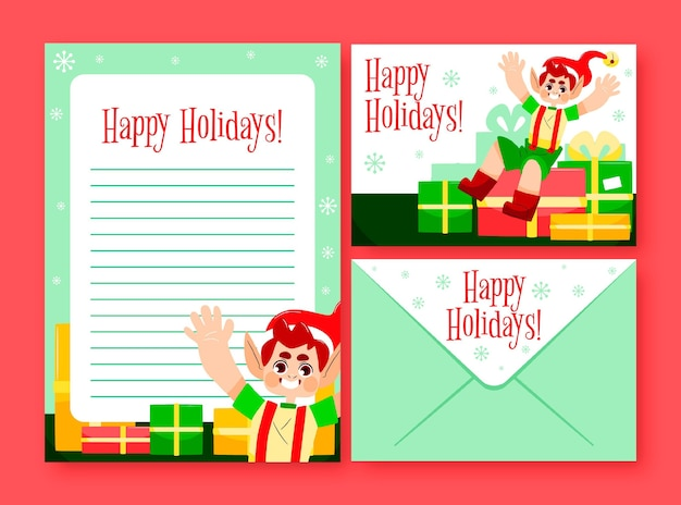 Hand drawn christmas stationery template