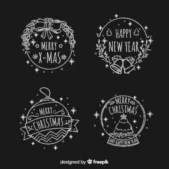 Hand drawn christmas stickers collection