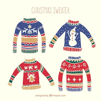 Hand drawn christmas sweaters pack