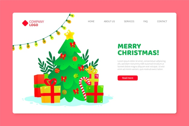 Hand drawn christmas template landing page